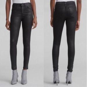NWT Rag & Bone Black Coated High Rise Skinny Jeans